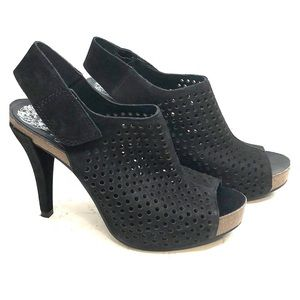 VINCE CAMUTO leather mesh wedge heels 7 1/2